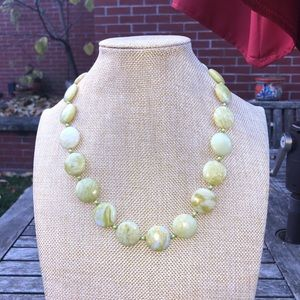 Light Green and White Marbled Flat Bead Necklace
